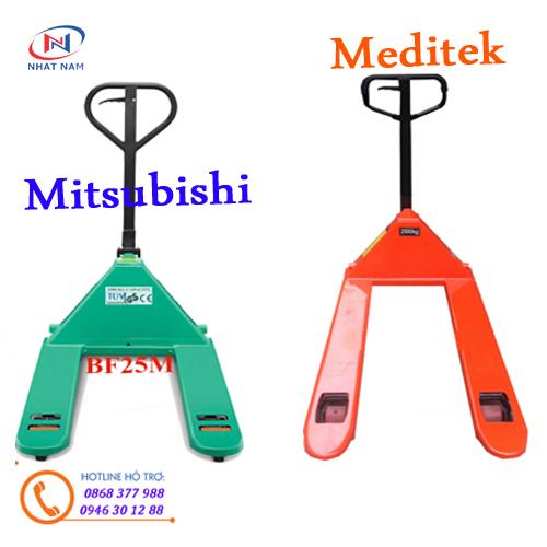 So sánh xe nâng tay Mitsubishi và xe nâng tay meditek