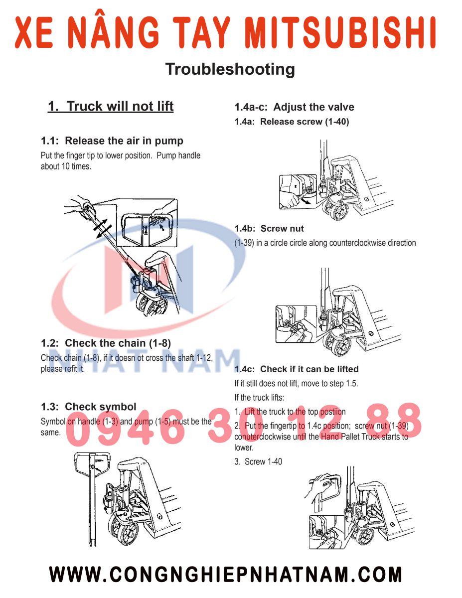 Tháo lắp tay xe nâng Mitsubishi